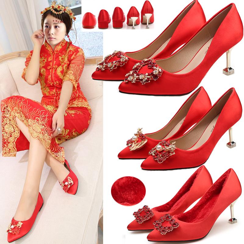 新娘鞋尖头加绒婚鞋女细跟水钻龙凤方扣结婚红鞋高跟敬酒礼服孕妇