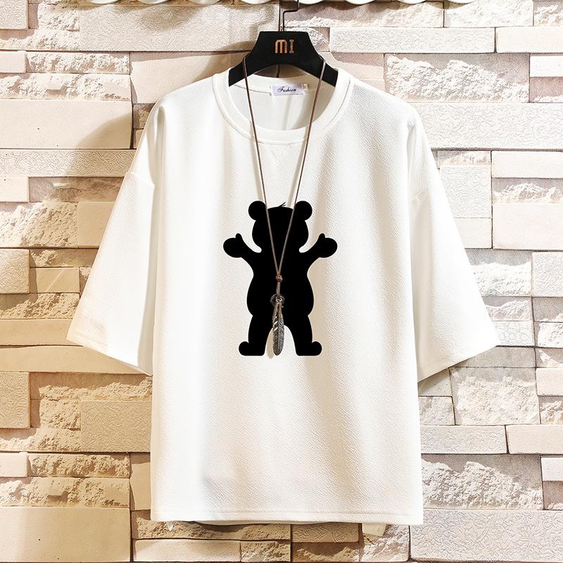 Q11021-P30 春夏季七分袖t恤男大码五分袖男短袖中袖