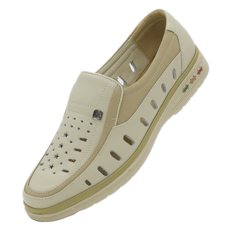 Mens leather sandals, leather light casual shoes, summer ox tendon bottom hole shoes, leather hollow out and perforated off white shoes