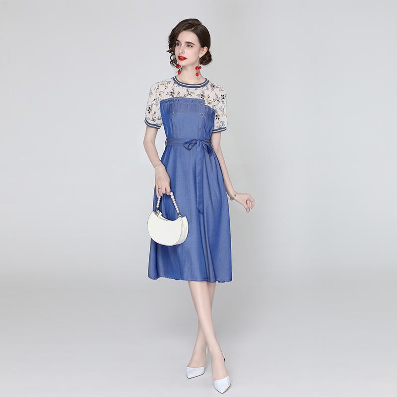 实拍3277#2021夏季女装新款 气质印花雪纺拼接牛仔中长款连衣裙