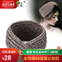 Knitted hair Belt female Korean headdress autumn winter new wool wide edge net red hundred horse Sea hair head with neck sleeve hair accessories