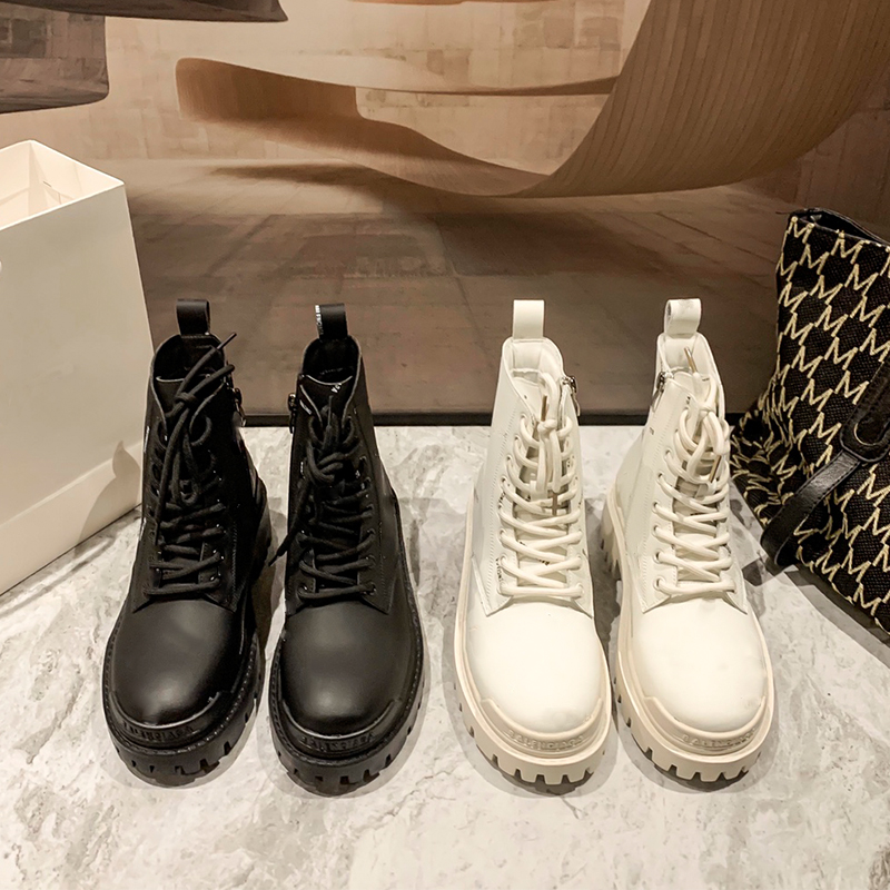 Gujun official website flagship store Martin boots womens 2021 new autumn and winter single Boots White B family thick soled short boots