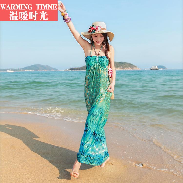 温暖时光新款夏女波西米亚沙滩裙热销10件限时2件3折