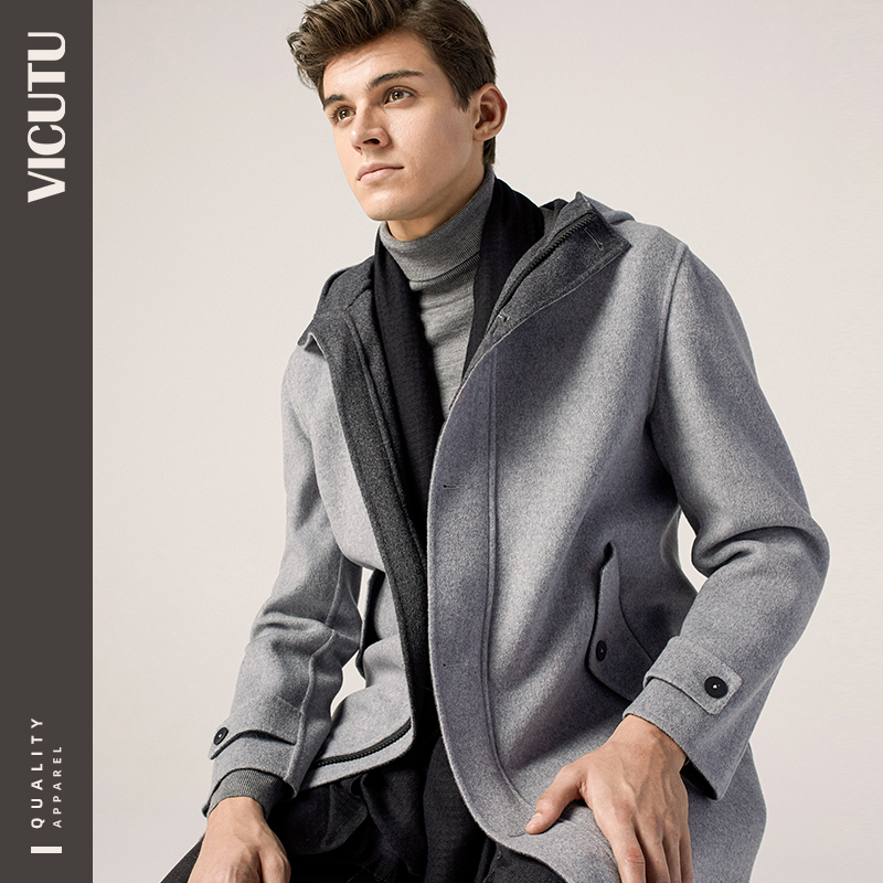 VICUTU/Victor coat men's pure wool hooded casual double-sided woolen coat men's autumn and winter woolen coat