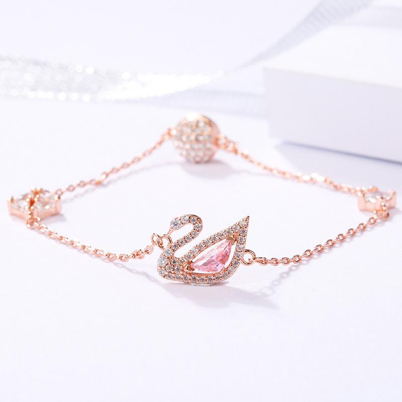 Semi precious stone alloy rose gold romantic Swan Bracelet female fashion charm versatile crystal bracelet Jewelry Gift trend