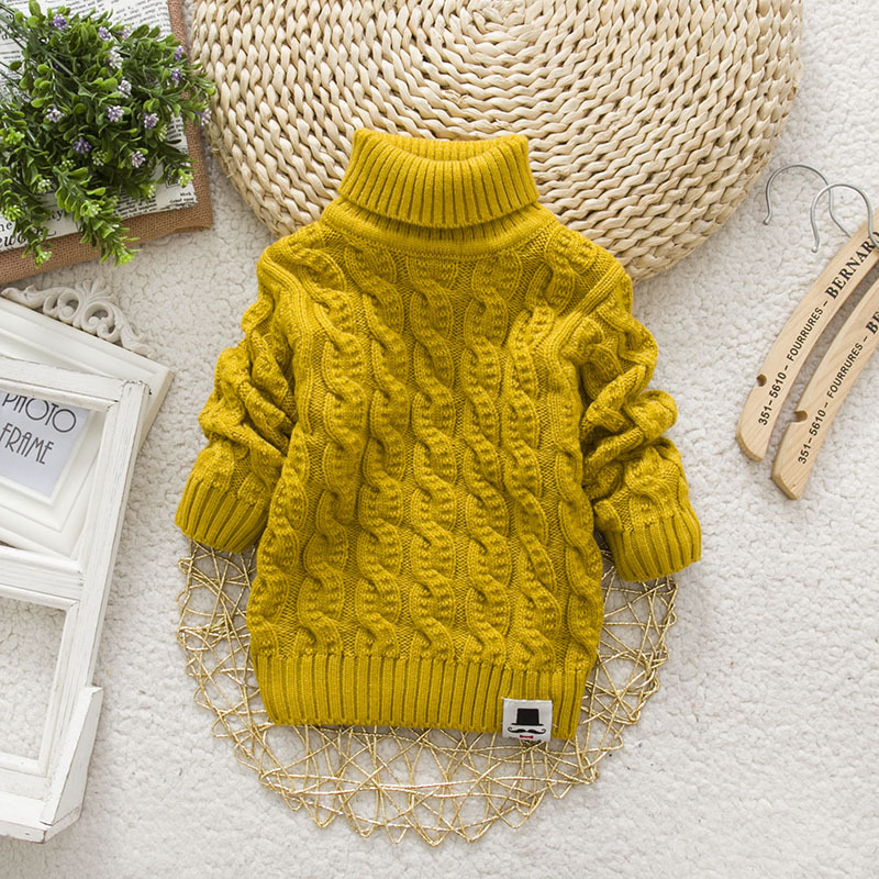 Autumn and winter new primary and middle school childrens sweater boys and girls high and low neck Pullover thickened warm pure color knitted bottom shirt