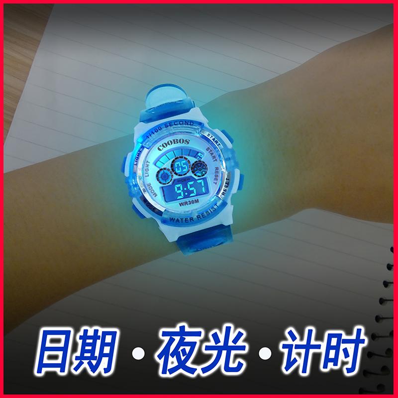 儿童手表男孩电子表男小学生运动手表女童电子手表防水夜光数字式