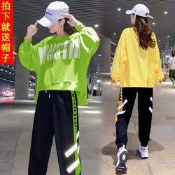 2020年秋冬装新款运动休闲套装女街舞嘻哈潮牌时尚BF两件套学生潮