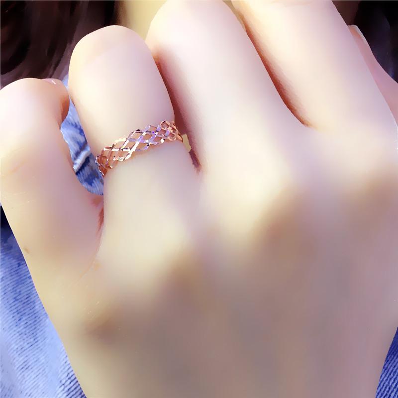 翁氏珠宝俄罗斯585紫金14K玫瑰金女士戒指18K彩金经典流行气质 款