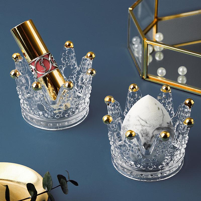 态生活 ins风欧式项链戒指美妆蛋架子玻璃烛台摆件化妆蛋收纳盒
