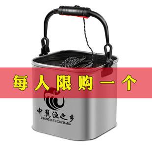 加厚EVA打水桶小魚桶可摺疊裝魚桶釣魚活魚箱帶繩漁具魚護桶包郵