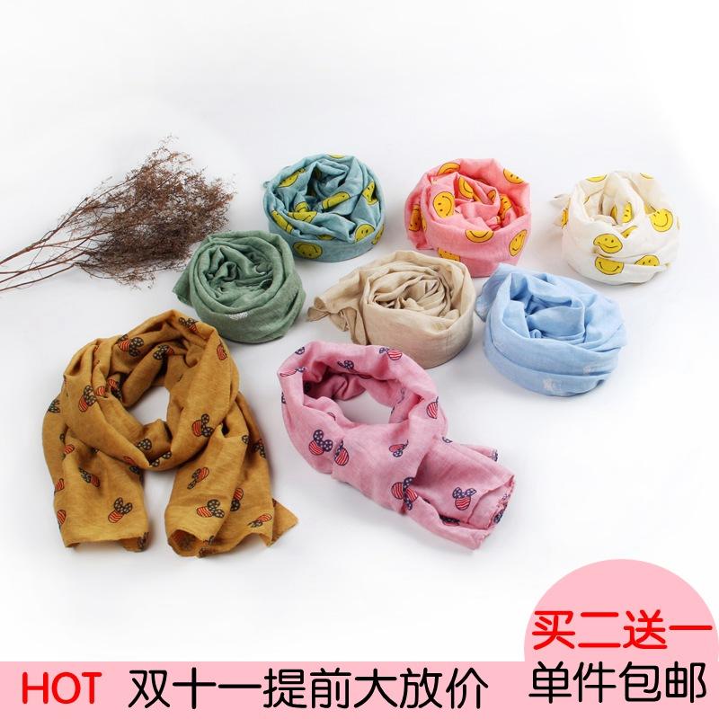 Ребенок льняная ткань шарф осень и зима мягкий ребенок дикий мультфильм митч шарф корейский мальчиков и девочек, теплый нагрудник весна