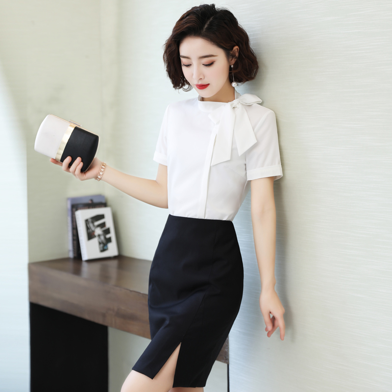 Front desk work clothes white shirt womens short sleeve work clothes fashion slim bow shirt Chiffon work clothes formal summer