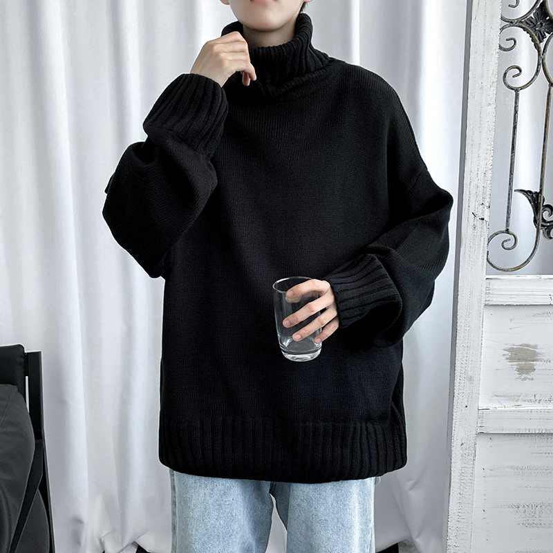 Loose lazy style pullover turtleneck sweater men's autumn and winter thick retro Japanese outer wear Hong Kong style knitted bottoming shirt