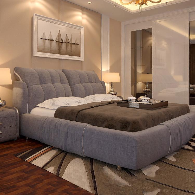Ткань кровать съемный господь ложь современный простой ткань кровать 1.8 3м кровать татами кровать брак кровать хранение мягкий кровать
