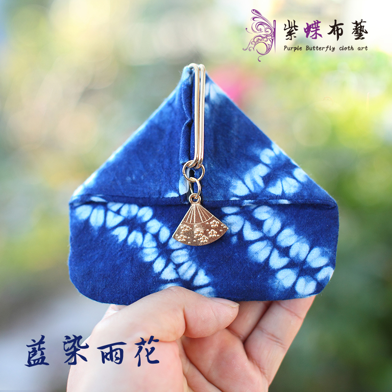 Japanese cotton and hemp retro little fresh girls cloth art and wind rice dumpling mouth gold bag key bag zero purse triangle bag