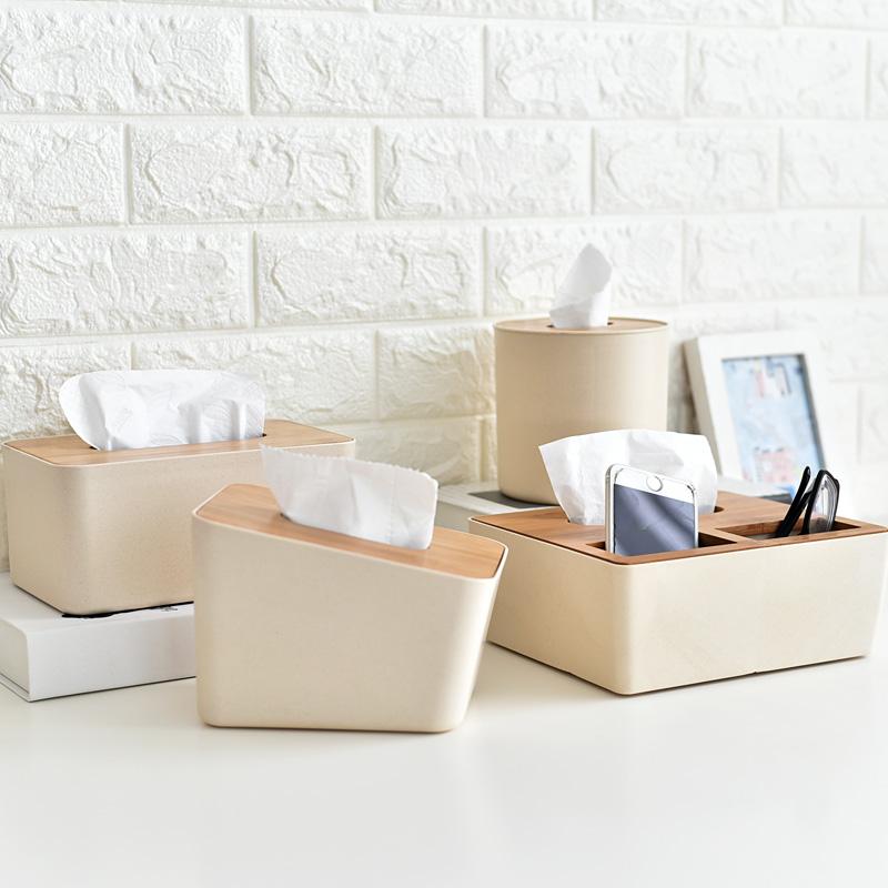 壹品生活 包邮 日式竹盖抽纸盒卷纸收纳筒纸巾盒桌面多功能收纳盒