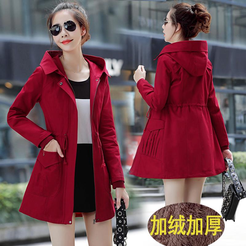 正版风衣女中长款2018秋冬新款外套女士韩版修身显瘦女装外套加厚