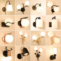 米度北欧原木彩色壁灯简约现代卧室床头壁灯马卡龙客厅过道走廊灯