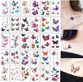 蝴蝶纹身贴纸3D立体防水女款持久性感小图案遮疤贴玫瑰花刺青清新