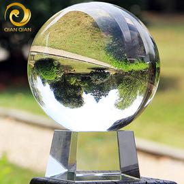 白水晶球风水透明圆球开业摄影拍照玻璃家居装饰品客厅办公桌摆件图片