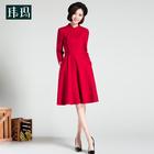 秋冬新款中国风女装中式修身打底裙红色旗袍喜庆毛呢连衣裙冬149H