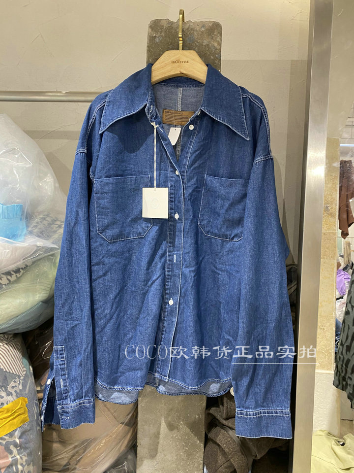 韩国2021春季新款 翻领双口袋长袖宽松深蓝色牛仔衬衫女