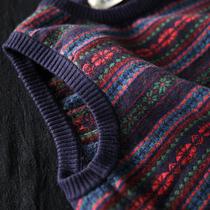 西缺原创民族风花色条纹毛衣马夹宽松针织衫背心女外穿坎肩马甲