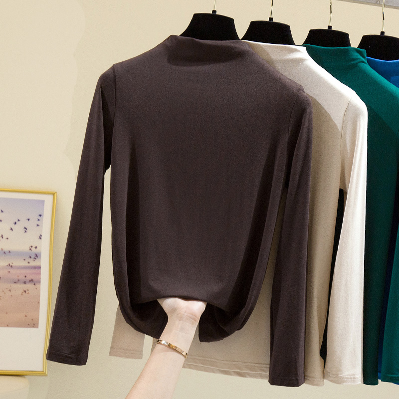 Half high collar bottomed blouse womens 2020 new spring and autumn winter wear modal thin T-shirt long sleeve slim fit and versatile