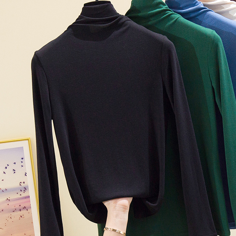 Modal bottomed shirt womens inner layer 2020 spring and autumn new tight half high collar Korean slim fit T-shirt thin and versatile