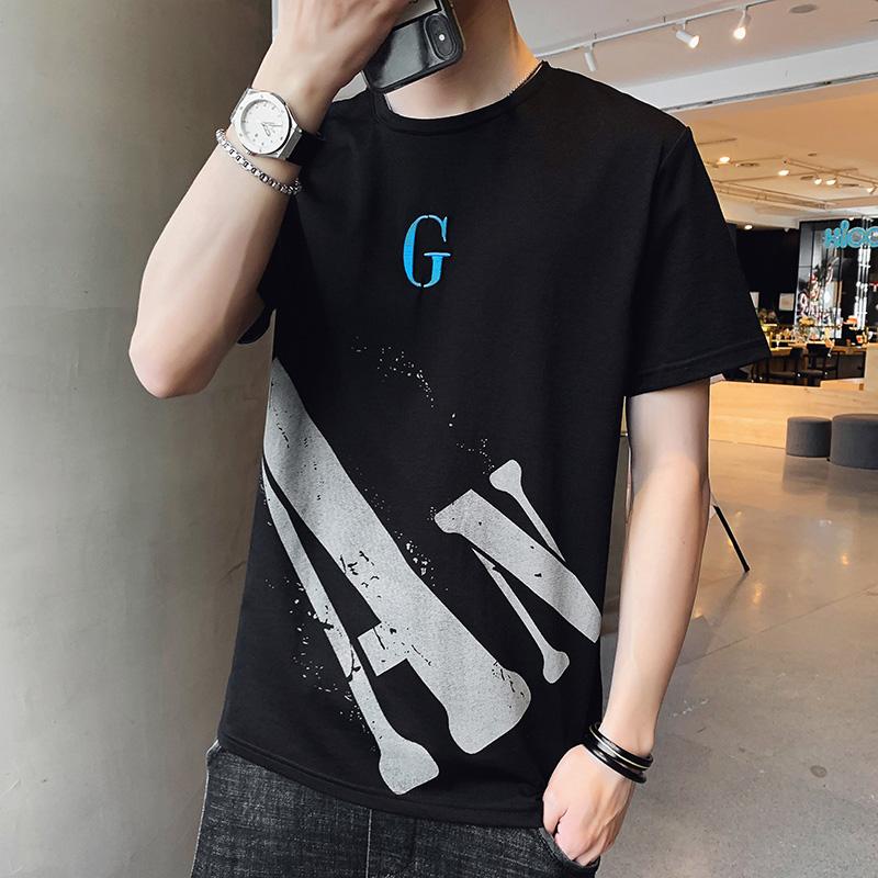 2020年夏装短袖t恤男士纯棉汗衫薄款字母印花男装潮牌上衣服潮流