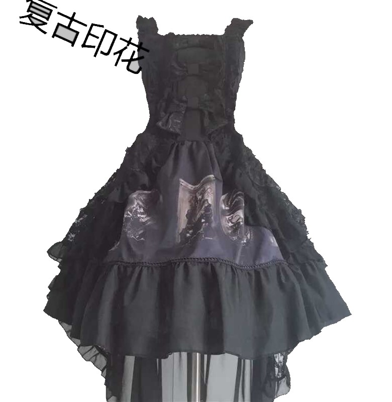 Japanese Gothic dark ZP college style cake tailed dress strap dress swallow tail Lolita long dress