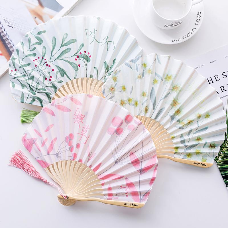 包邮夏季日式小清新布面扇子折扇古风男女式学生用迷你便携折叠小扇子