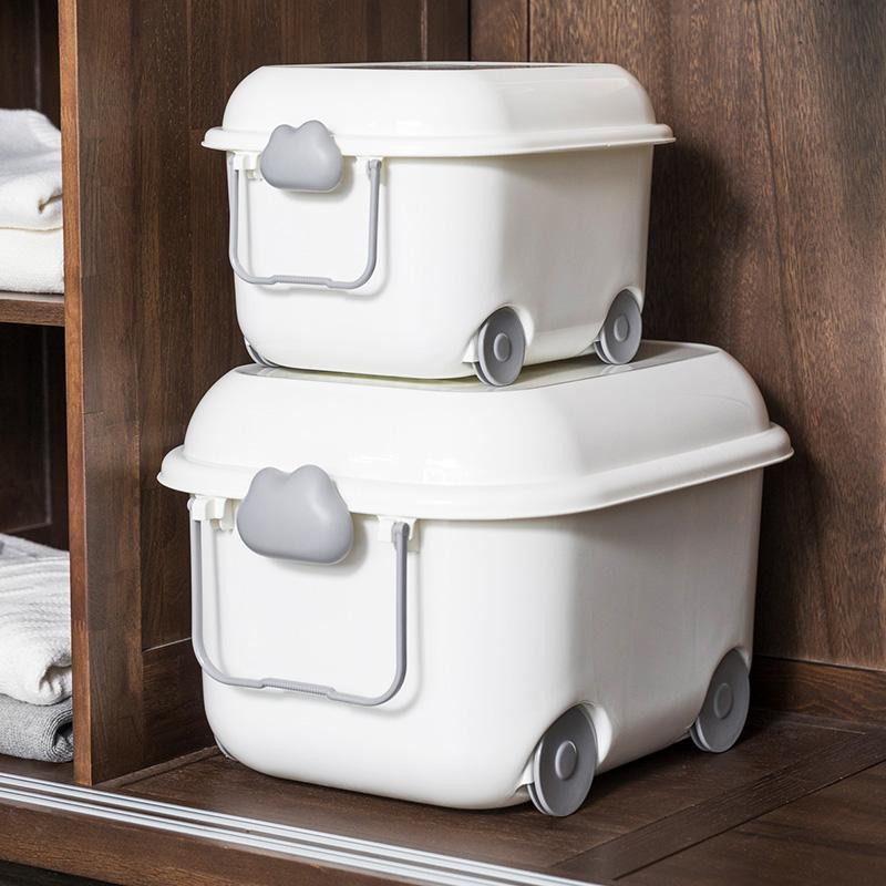 聚可愛 大號兒童收納箱玩具衣服塑料整理箱滑輪帶蓋卡通儲物箱