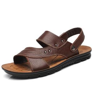 夏季男士真皮凉鞋透气外穿拖鞋男凉拖夏天男式休闲皮鞋防滑沙滩鞋