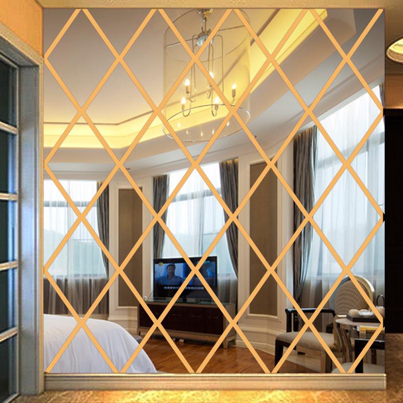 亚克力菱形镜面立体客厅餐厅电视