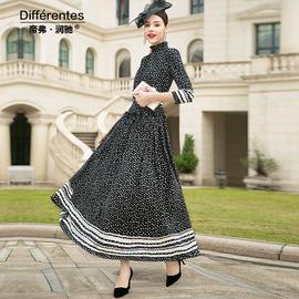 帝弗润驰裙子轻熟风气质洋气长款法式连衣裙复古印花超长裙大摆裙