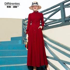 帝弗润驰法式复古红色连衣裙长款长袖高端气质及踝过膝长裙子女