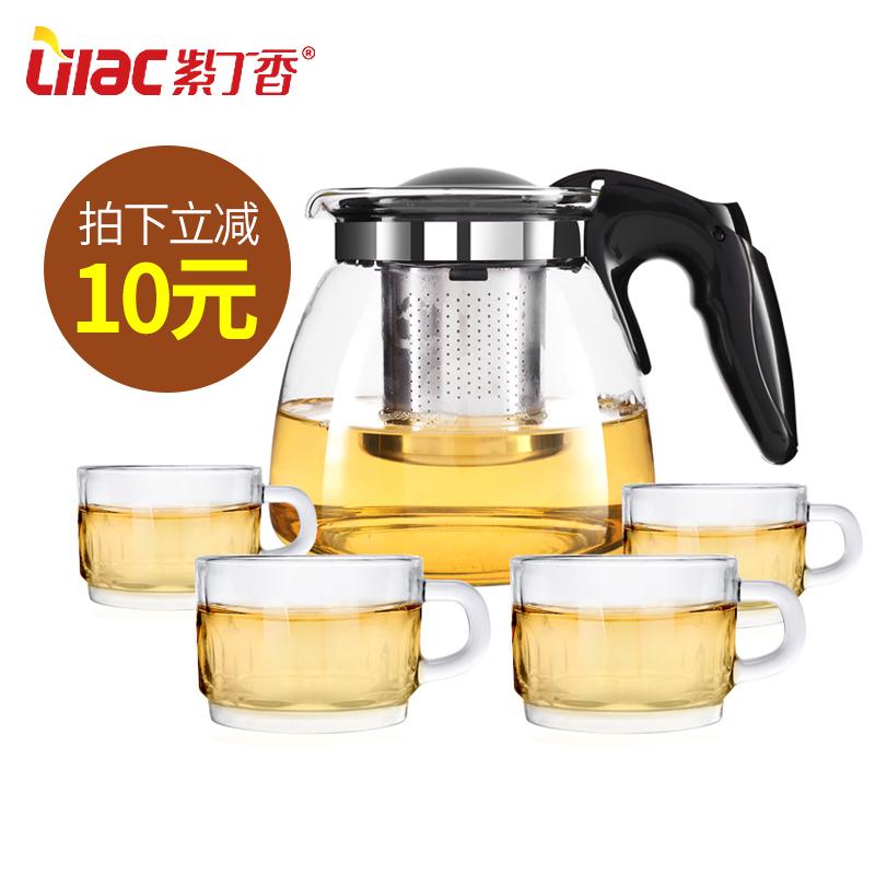 紫丁香 耐熱玻璃茶壺整套過濾茶具茶杯套裝水壺花茶壺紅茶泡茶壺