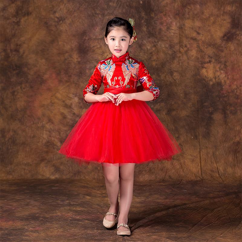 兒童旗袍 裝寶寶禮服長袖裙女童唐裝演出服小孩旗袍 連衣裙