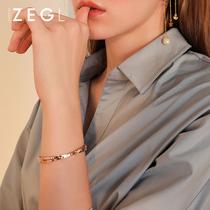 ZEGL罗马数字手镯女镀玫瑰金简约百搭小众网红刻字钛钢手环手饰品
