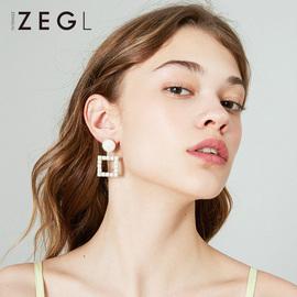 ZENGLIU几何方形耳环女2020新款潮网红耳钉气质简约镂空耳坠耳饰