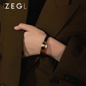 ZENGLIU黑色钛钢东大门手镯女ins潮个性网红冷淡风气质手环手饰品