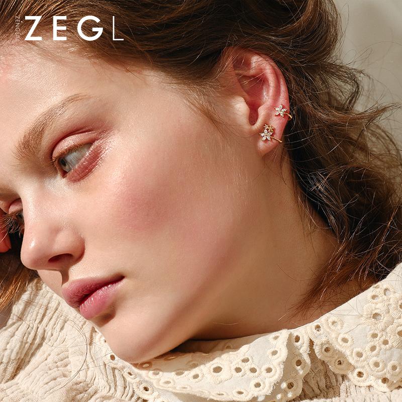 ZENGLIU девушка сердце ins цветы клипса ухо серьги темперамент корея простой свежий серьги ухо кость клип не прокалывать уши