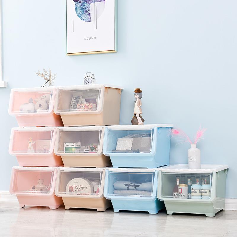 �乳_式塑料收�{箱�和�零食玩具�ξ锵�N房收�{筐前�_式翻�w整理箱
