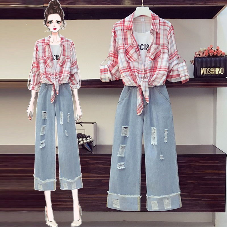 Sunscreen plus size large size suit two piece suit of foreign fashion plain fashion girl youth student thigh Plaid