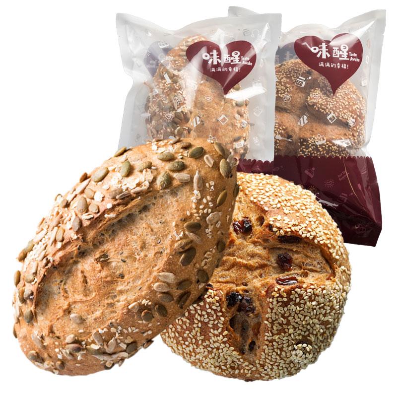 【味醒】全麦杂粮面包组合400g(2个装)天然酵母葡萄干黑麦面包券后19.80元