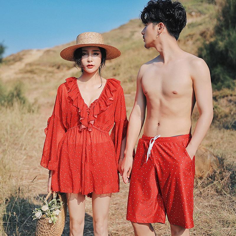 (用192元券)情侣泳衣女三件套ins风韩国温泉小胸聚拢遮肚显瘦保守比基尼分体