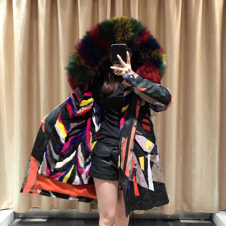 2017 new mink fur liner knick suit medium and long mouse fur pie overcomes Haining womens fur coat