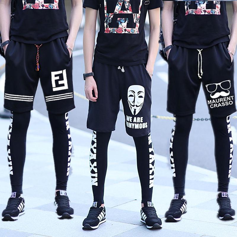 热销128件有赠品男士嘻哈街舞跑步裤子假两件打底裤运动篮球短裤套装男韩版紧身潮